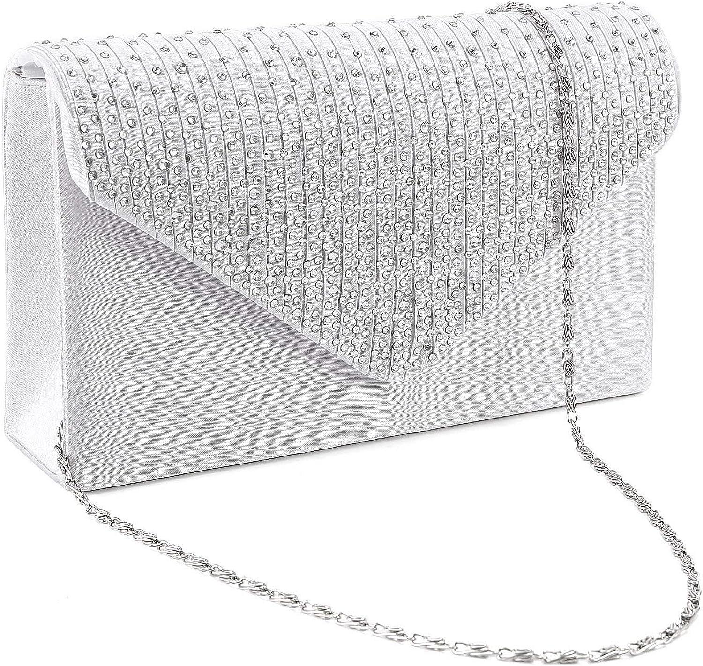 Vincenza Fashion Ladies Elegant Satin Envelope Diamante Crystal Lace Black Red Satin Evening Clutch Bag Womens Wedding Bridal Handbag Purse Bag Wallet Prom Party