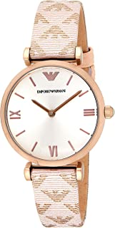 Emporio Armani Women's Quartz Stainless Steel and Leather Casual Watch, Color:Pink (Model: AR11126)