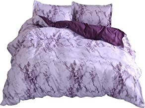 A Nice Night Lightweight Microfiber Quilt Cover Bedding Duvet Cover Set No Comforter,Purple Marble - Full Size