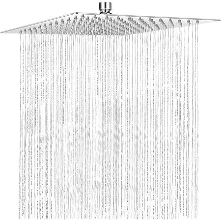 COMLIFE Alcachofa de Ducha, Placa de Ducha Ultra-Delgado Lluvia Cuadrada Cabezal de Ducha 304 Acero Inoxidable Lluvia de Alta Presión con 144 Jets de Silicona, Accesorios Baño, 12 Pulgadas