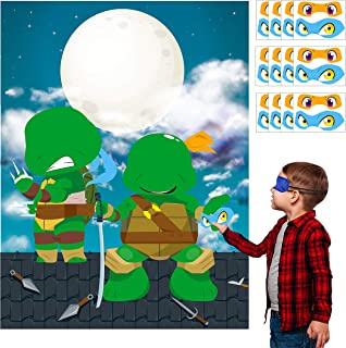 MALLMALL6 Ninja Turtles Stickers Party Game for Kids Pin The Eye Patches On The Ninja Turtle Birthday Party Favors Ninja Turtle Party Supplies Room Decorations Pin Game with Blindfold