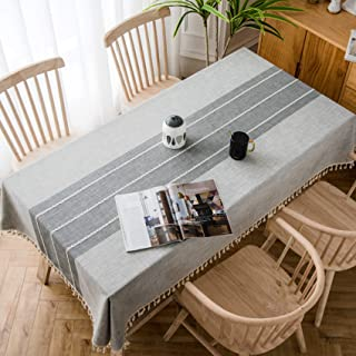 """MoMA Gray Stitched Fringe Table Cloth (55""""x70"""") - Cotton Linen Table Cloths for Kitchen - Grey Fabric Table Cover - Modern Decorative Dining Table Cover - Outdoor Patio Table Cover - Rectangle Table C"""