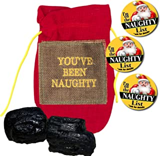 Crenstone Santa's Naughty List Set - Lump of Coal in Bag with Santa's Naughty List Button Pin (Coal & 3 Small Mini Button Pins)