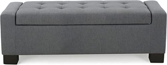 Christopher Knight Home Living Rothwell Charcoal Fabric Storage Ottoman