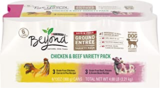 Purina Beyond Grain Free, Natural Pate Wet Dog Food, Chicken & Beef Recipe Variety Pack - (2 Packs of 6) 13 oz. Trays