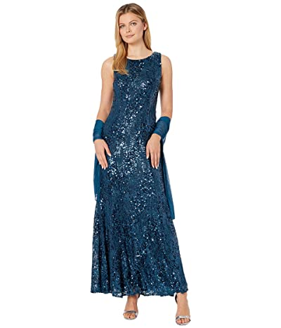 Alex Evenings Long Sleeveless Sequin Lace Dress with Shawl (Peacock) Women