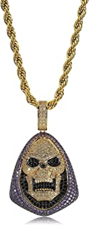14K Gold Plated Simulated Diamond Iced Out Bling Skeleton Pendant Necklace for Men Women Hip Hop Jewelry
