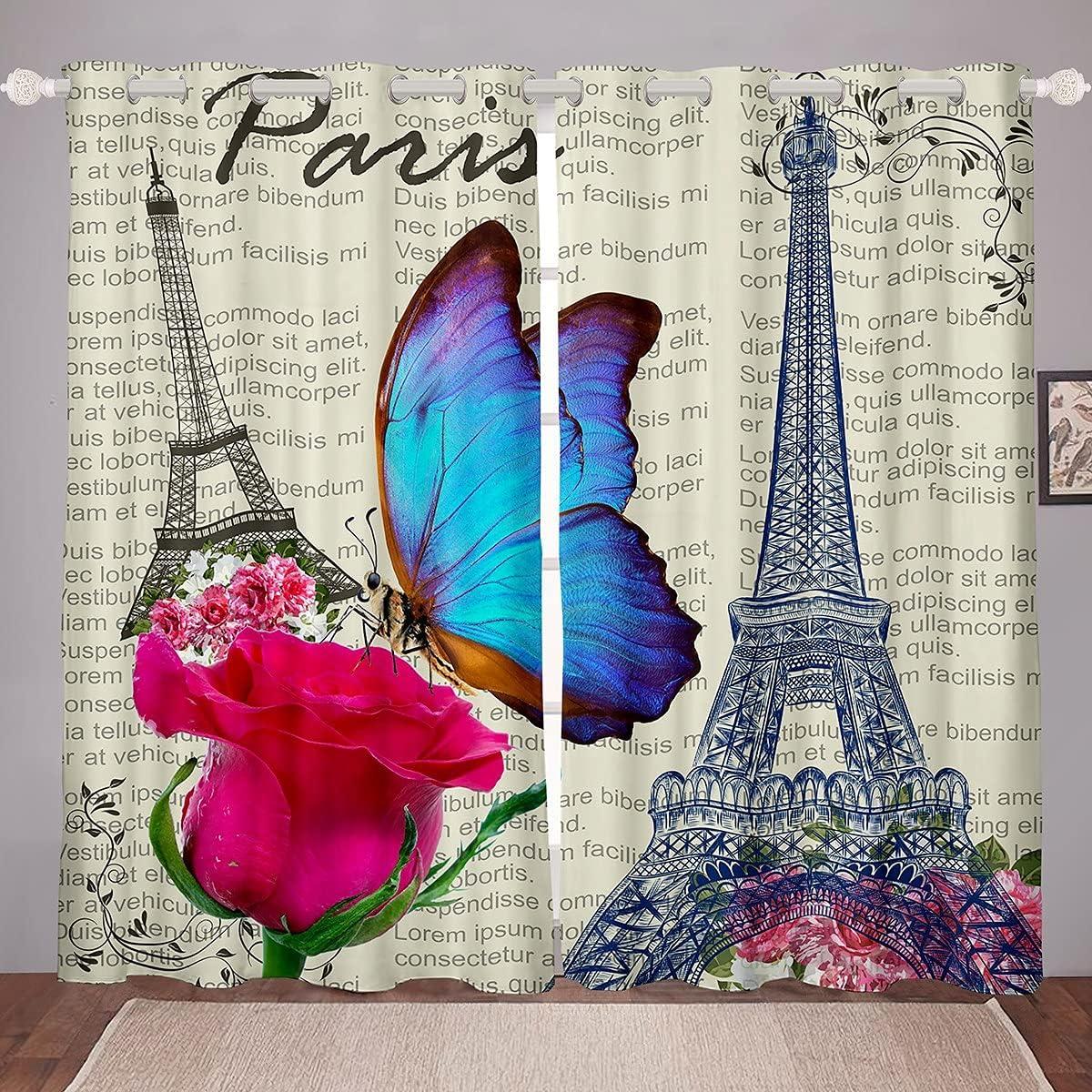 Erosebridal Eiffel Tower Curtain Old 2021 new Newspaper Curtains B gift Window