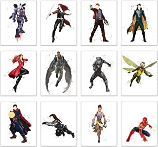 Watercolor Avengers End Game Poster Prints - Set of 12 (8x10) Glossy Marvel Wall Art - Doctor Strange - Black Panther - Scarlet Witch - Loki - Starlord - Shuri - Spiderman - Winter Soldier - Gamora