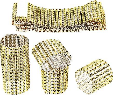 Zhanmai Rhinestone Napkin Rings Napkin Mesh Adornment for Wedding Party  Birthday Supplies (Gold 77b5f2dfff57