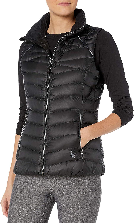 Spyder Women's Timeless Down Vest – Paneled Puffy Lightweight Full Zip