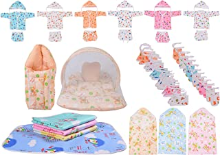 Toddylon Jhabla Combo Set with 6 Baby Nappy and 6 Caps, 1 Sleeping Bag/1 Net Bed, 3 Blankets, 4 Plastic Sheets Waterproof and 6 Pairs of Mitten and Booty for Newborn Babies (Multicolor, 0-6 Months)