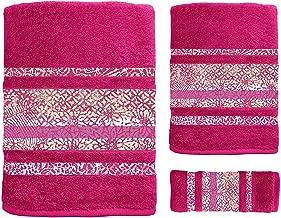 Set di 3 Asciugamani da Bagno Ricamati 100/% Cotone lavandino e Doccia Lola Secaneta per Toilette Bianco