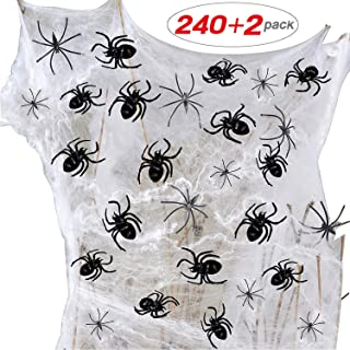 240pcs Spider Decorations 225pcs Small Stretch Spider Prop + 10pcs Medium Fake Spider + 5pcs Big Black Spider + 2 Spooky Spider Web Decorations Best for Party Supply Stage Property