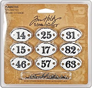 Metal Plaquettes with Fasteners by Tim Holtz Idea-ology, 9 per Pack, 1-3/8 Inches Wide, Black Numbers, TH92921