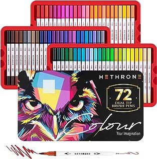 comprar comparacion Hethrone Juego de Bolígrafos de Doble Punta con 72 Bolígrafos para Colorear, Marcadores Artísticos de Punta de Fieltro, Bo...