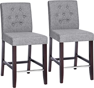 SONGMICS Set of 2 Bar Stools Kitchen Breakfast Chairs, with Button Tufted Backrest, Linen-Style Fabric, Solid Wood Legs, with Footrest, Light Gray ULDC34GYX, Seat Height: 24'