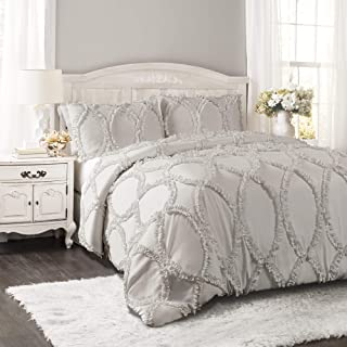 Lush Decor Avon Comforter Ruffled 3 Piece Bedding Set with Pillow Shams King Light Gray