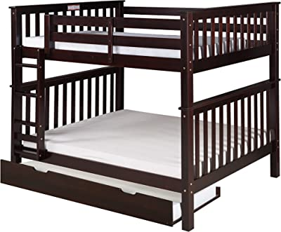 Camaflexi Santa Fe Mission Tall Bunk Bed Attached Ladder with Under Bed Trundle, Full over