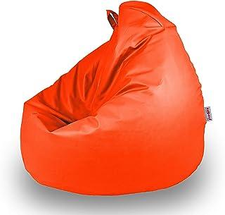 Italpouf - Puff Pera de Polipiel Infantil 77 x 90 cm 200L con Funda Extraible Indoor Muy Resistente Moldeable con Relleno, 21 Colores (Naranja)