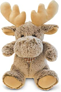 DolliBu Plush Moose Stuffed Animal - Soft Fur Huggable Brown Moose, Adorable Playtime Sitting Moose Plush Toy, Cute Wild L...