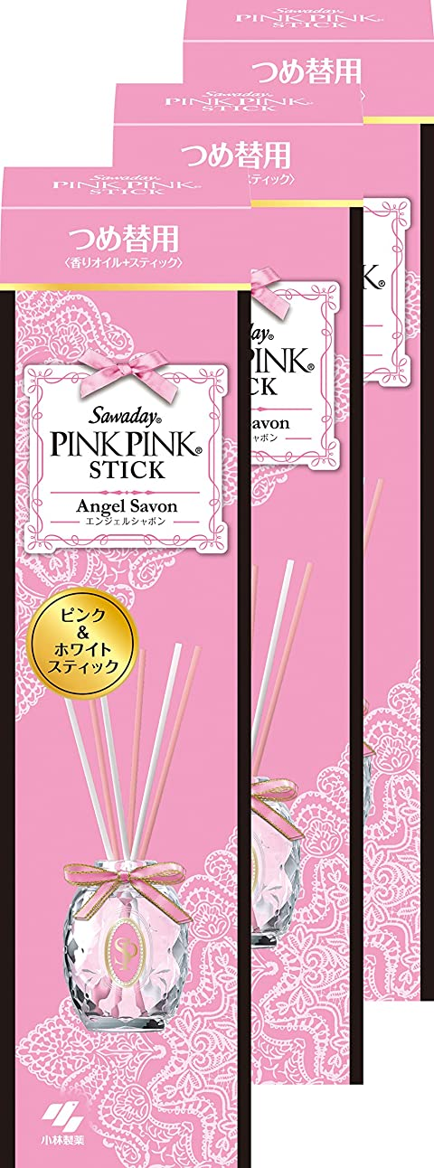 敬精神的に義務【まとめ買い】サワデー ピンクピンクスティック 消臭芳香剤 詰替え用 エンジェルシャボン 70ml×3個