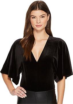 1.STATE - V-Neck Flounce Sleeve Velvet Bodysuit