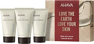 AHAVA Dead Sea Mineral Hand Cream, Body Lotion, and Shower Gel Travel Size Value Set