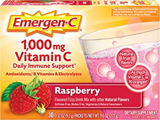 Emergen-C Vitamin C 1000mg Powder (30 Count, Raspberry Flavor, 1 Month Supply), With Antioxidants, B Vitamins And Electrol...