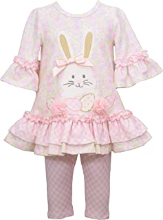 Bonnie Jean Girl's Easter Outfit - Pink Bunny Leggings Set for Baby, Toddler and Little Girls