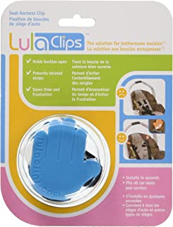 LulaClips Baby Car Seat Harness Clips (2-Pack) - Hold Buckles Open, Prevent Twisting Straps and Save Time - Easy to Install, Childproof Locking Pin - Fit All Car Seats and Carriers,Blue