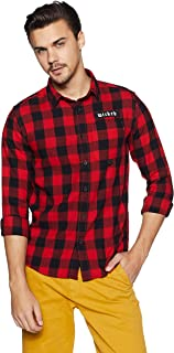 People Men's Checkered Slim Fit Casual Shirt