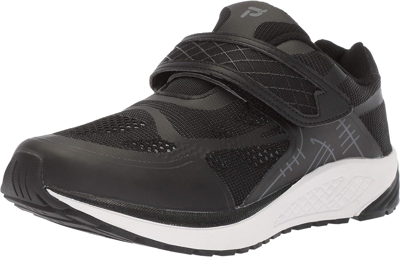 Propet Women's One Strap Sneaker, Black Dark Grey, 10 Medium US