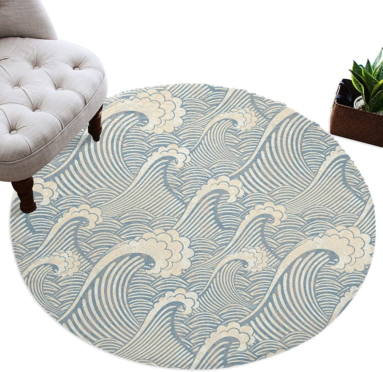 Round Area New York Mall Rugs 5 ft Ocean Flower So Plush Texture Overseas parallel import regular item Non-Slip Wave