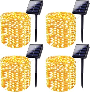 Super-Long 4-Pack Each 72FT 200 LED Solar String Lights, Extra-Bright Solar Outdoor Lights with 8 Lighting Modes, Waterproof Solar Fairy Lights for Tree Garden Patio Party Christmas (Warm White)