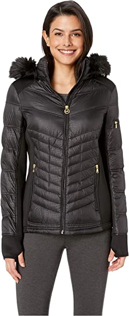 Zip Front Knit and Down Jacket A820142G