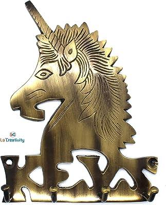LA creativity Brass Antique Aquarius Horse Unicorn Design Key Holder for Wall
