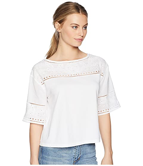 suave algodón blanco Lauren con ojales mezcla LAUREN con Ralph pequeños Camiseta de cqPBpApw