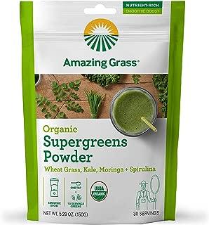 Amazing Grass Organic Supergreens Powder: Wheatgrass, Kale, Moringa, & Spirulina, Smoothie Booster with Vitamin K, 30 Servings