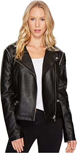 Members Only - Faux Leather Moto Jacket Vest