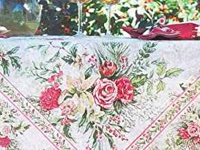 April Cornell Fabric Tablecloth Floral Holiday Christmas Pattern Flowers Pine Needles Holly with Berries in Shades of Pink Green Red on Cream - Merry Antique, 60 Inches by 104 Inches