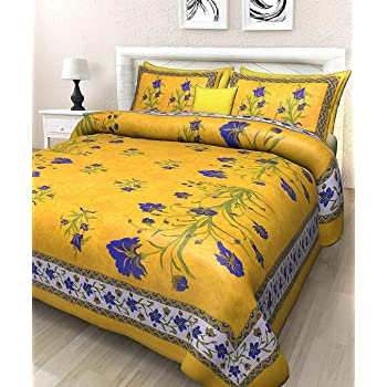BedZone Jaipuri Print 100% Cotton Rajasthani Tradition King Size Double Bedsheet with 2 Pillow Cover (100% Cotton)