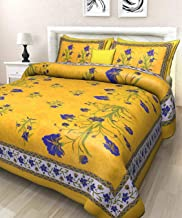 BedZone Jaipuri Print 100% Cotton Rajasthani Tradition King Size Double Bedsheet with 2 Pillow Cover (100% Cotton) Yellow