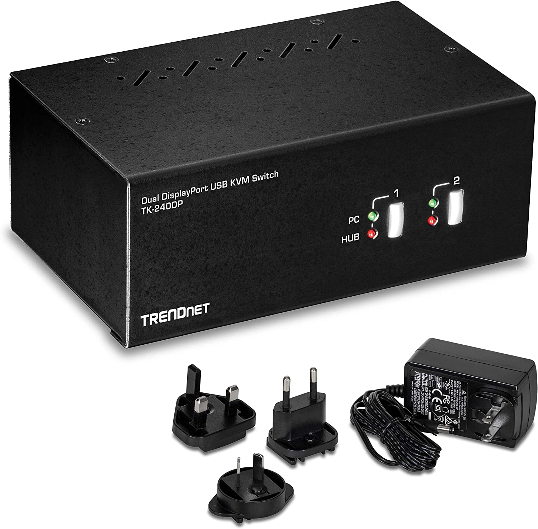 TRENDnet 2-Port Dual Monitor DisplayPort KVM Switch with Audio, 2-Port USB 2.0 Hub, 4K UHD Resolutions Up to 3840 x 2160, Connect Two DisplayPort Monitors, Dual Monitor KVM Switch, Black, TK-240DP