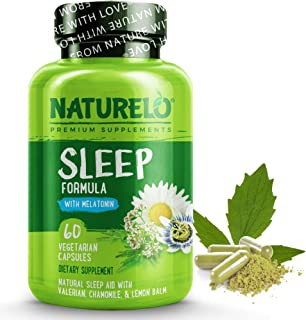 NATURELO Natural Sleep Aid - with Melatonin, Magnesium, GABA, Valerian Root, Lemon Balm, Chamomile Extracts - Natural Slee...