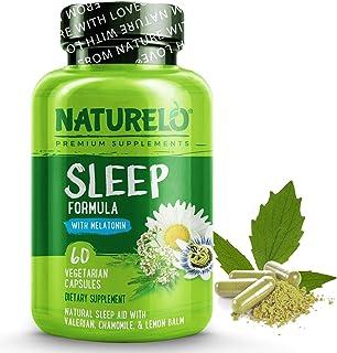 طبیعی خواب طبیعی NATURELO - با ملاتونین ، منیزیم ، GABA ، ریشه Valerian ، بادرنجبویه لیمو ، عصاره بابونه - بهترین کمک طبیعی خواب - 60 کپسول وگان