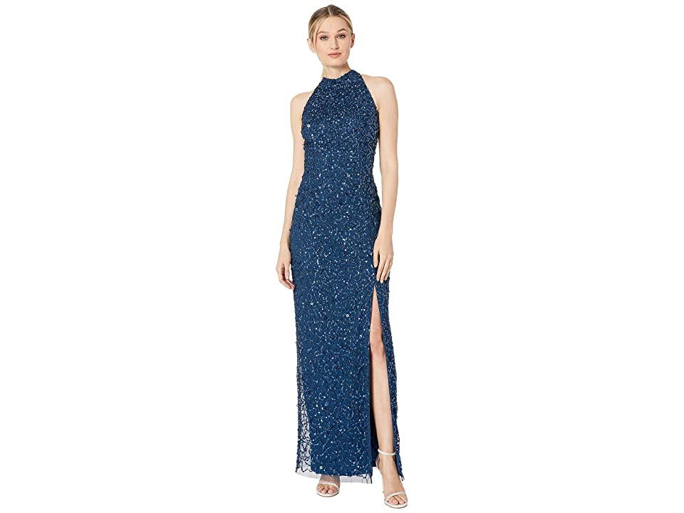 Adrianna Papell Beaded Column Halter Evening Gown (Deep Blue) Women