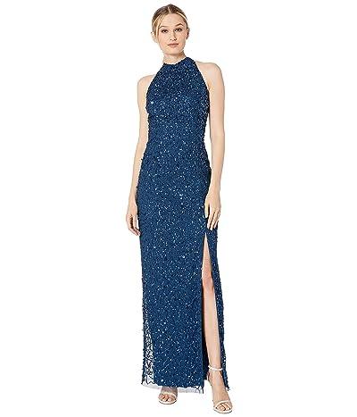 Adrianna Papell Beaded Column Halter Evening Gown (Deep Blue) Women