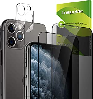 [2+1 Pack] UniqueMe for 2 Pack Privacy iPhone 11 pro max Screen Protector Tempered Glass + 1 Pack iPhone 11 Pro Max Camera...