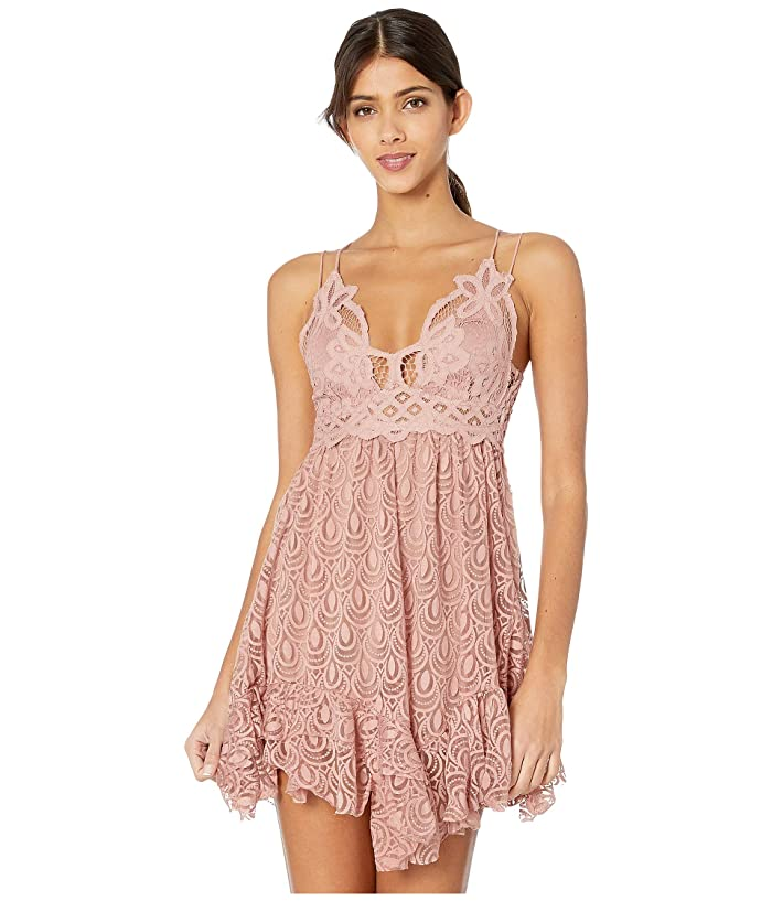Free People  Adella Burnout Velvet Slip (Rose) Womens Clothing